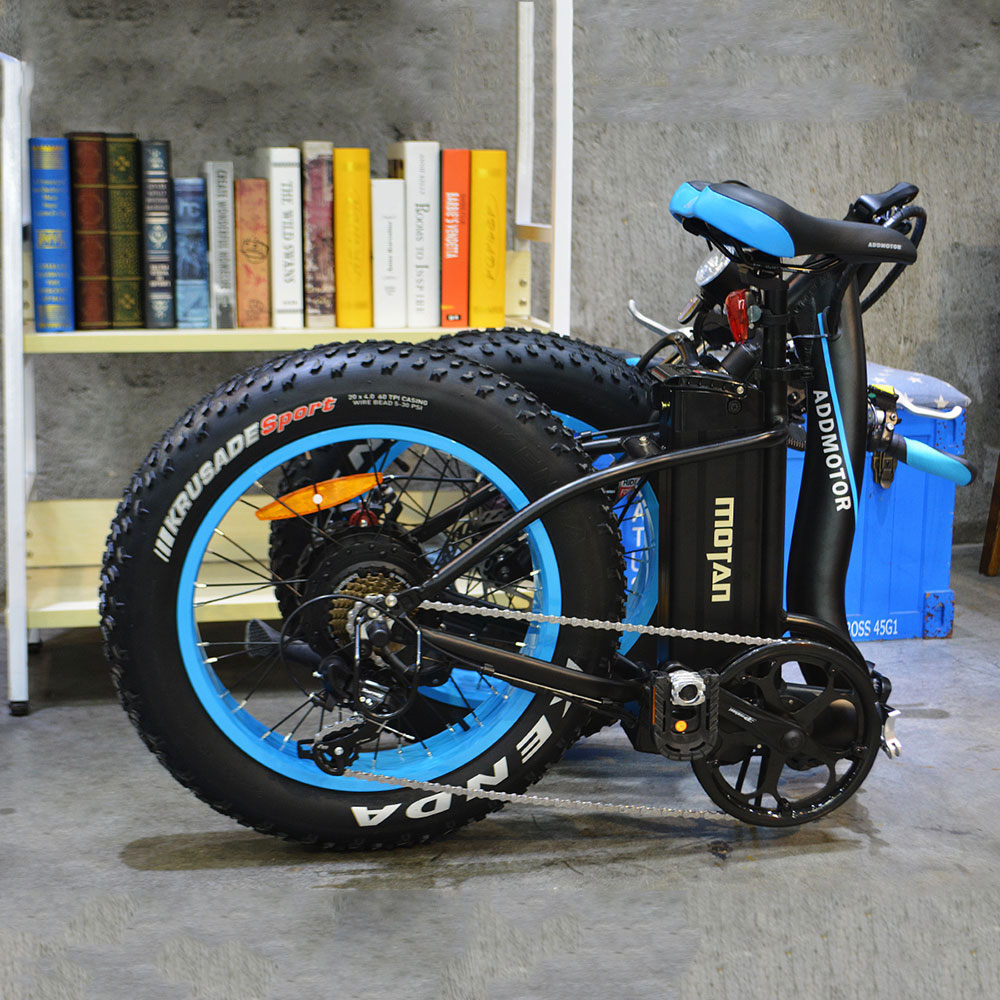 Motan M-140 P7 Foldable Electric Step-Thru Bike fold blue