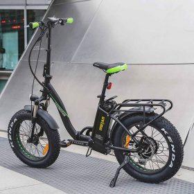 Motan M-140 P7 Foldable Electric Step-Thru Bike green stand